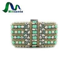 Neue Frauen Blume Perlen Abendtaschen Kristall Kupplungen Ovale Hochzeit Handtaschen Dame Schulter Bule Mit Grün