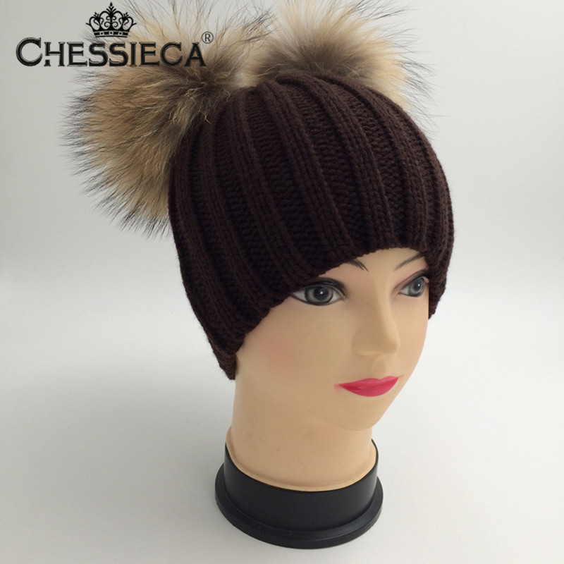 CHESSIECA New Real Mink Fur Poms Knitted Beanies Winter Hat Women Wool Double Ball Skullies Bobble Cap Pompom Gorros Female skullies beanies mink mink wool hat hat lady warm winter knight peaked cap cap peaked cap
