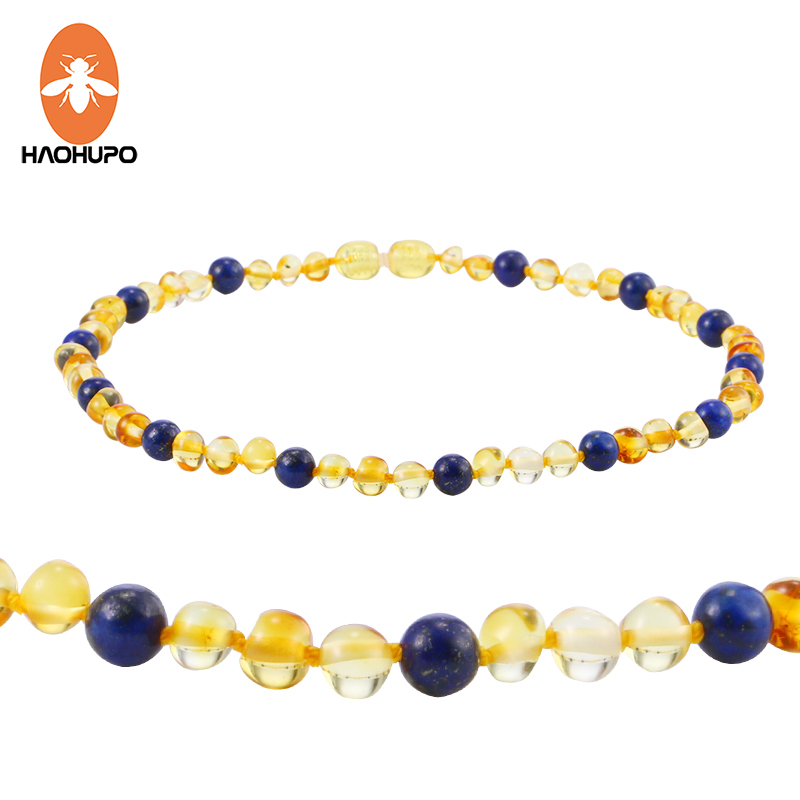 68d50b3665ffa US $9.47 13% OFF|HAOHUPO Amber Teething Necklace with Natural Lapis Lazuli  Baltic Amber Beads Baby Adult Custom Jewelry Blue Natural Stone Bijoux-in  ...