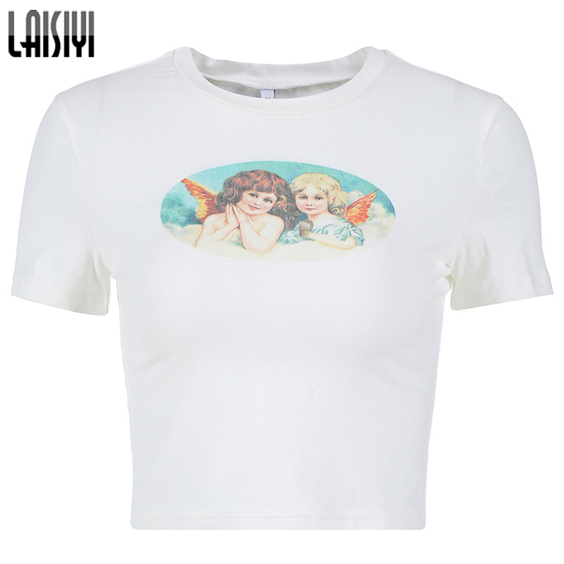 New Pink Women Cute Letter Angel Print Cartoon Short Sleeve Pullover Shirt Crop Cami Beach Basic Tops Blouses & Shirts