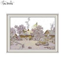 Joy Sunday Winter Village Cross Stitch Landscape Embroidery Kit Aida Fabric Printed Canvas DMC Crossstitch Thread DIY Needlework