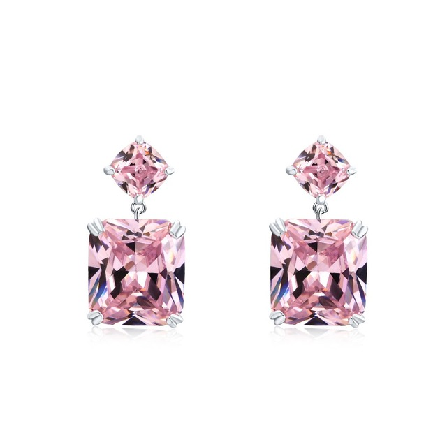 New Crystal CZ Dangle Yellow Pink White Earrings for Women Wedding Party Bridal Accessories Long Plated Holiday Jewelry
