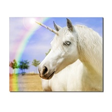 Laeacco Rainbow Unicorn Nordic Fashion Posters Pictures Wall Art Canvas Paintings Prints Decoration For Living Room Bedroom