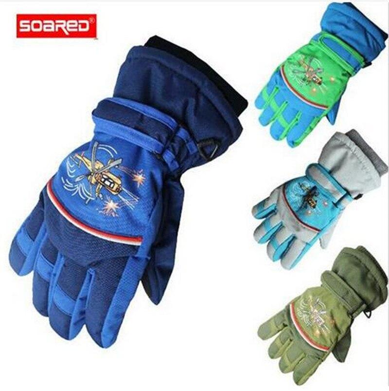 SOARED Winter Ski Gloves Kids Waterproof Snowboard Gloves Mittens Boys Girls Children Skiing Outdoor Winter Warm Gloves 4~10 Yea