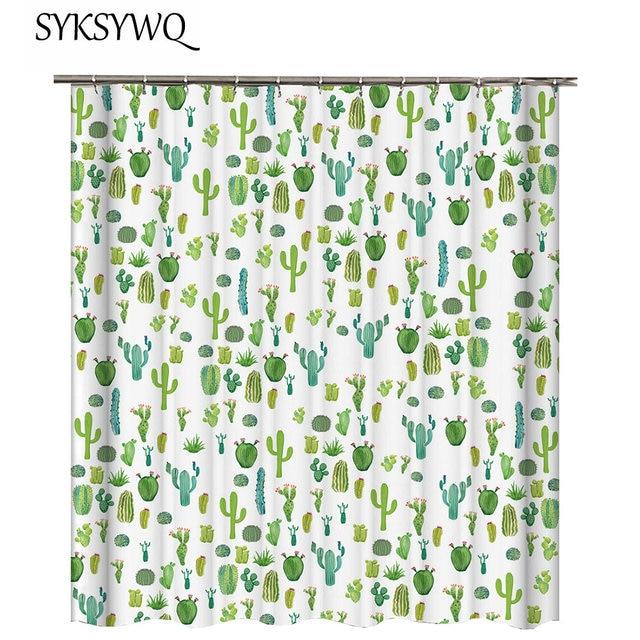 Cactus Shower Curtain Succulent Plants Bath Green Bathroom Fabric Rideau Douche 3D