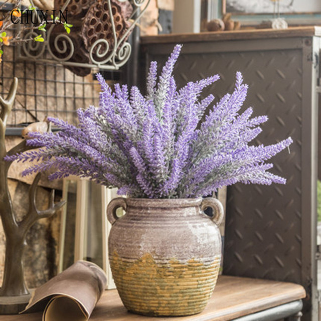 25 Heads/Bouquet Plastic Flower Romantic Provence 4 Colors Artificial Flowers Lavender Decoration Wedding Party Garden Decor