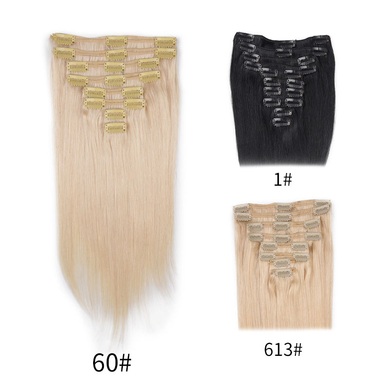 Vivace Clip in Remy Human Hair Extensions Full Head Straight 100g 14inch-24inch 7pcs Double Drawn Nature Human Hair in clips ...