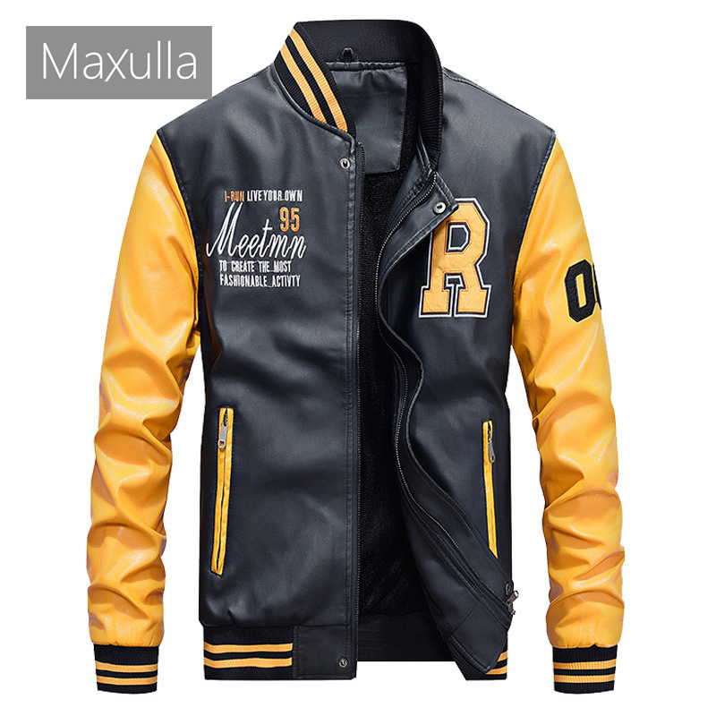 Maxulla PU Leather Jacket Mens Fashion Hip Hop Leather Coats Male Causal Slim Fit Faux Leather Punk Motorcycle Jackets Clothing
