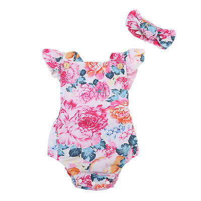 Able Baby Girl Floral Cotton Romper Toddler Backcross Jumpsuit With Headband 2Pcs Sunsuit Clothes Outfit
