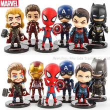 Hasbro Avengers Justice League 6pcs/set Thor Spider-Man Iron Man DC Batman Superman Q version Doll Model toys