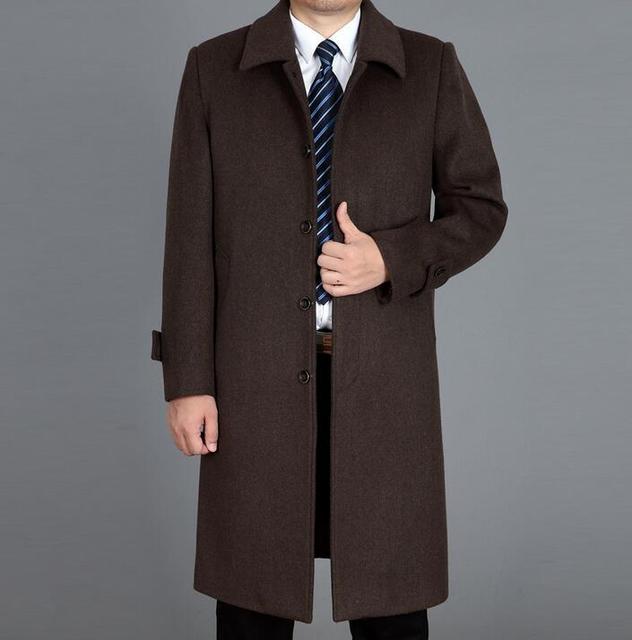 nouvelle arrivee cc9f4 8cc48 Quinquagénaire cachemire laine manteaux hommes pardessus ultra long  survêtement grande taille trench manteaux hommes hiver lâche noir marron