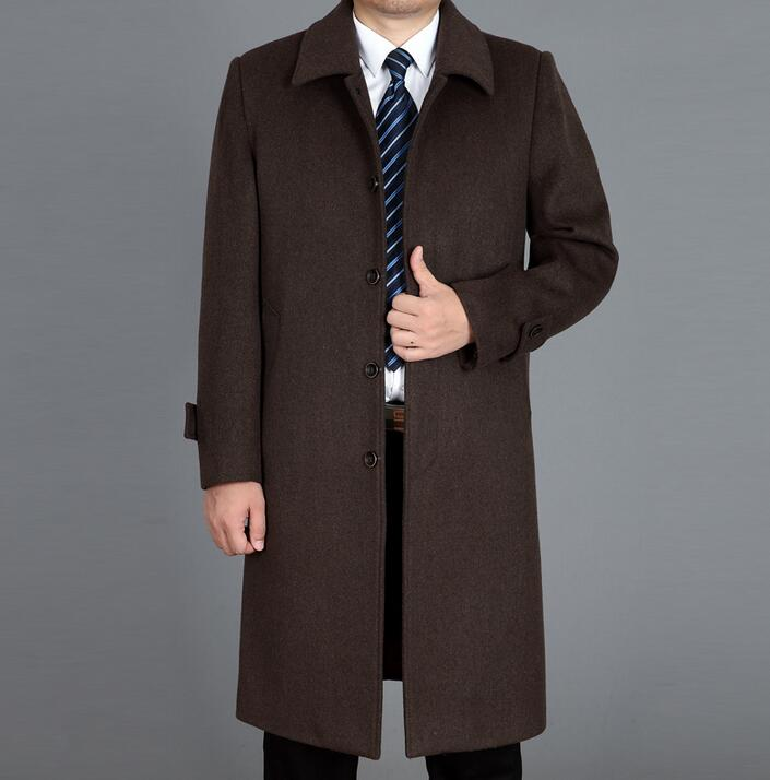 Quinquagenarian cashmere woolen coats mens overcoat ultra long outerwear plus size trench coats mens winter loose black brown