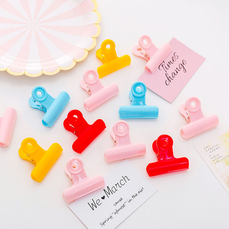 1 PC Plastic Binder Clips Colors Paper Clip 50mm Office School Supplies Stationery Binding Supplies Files Documents