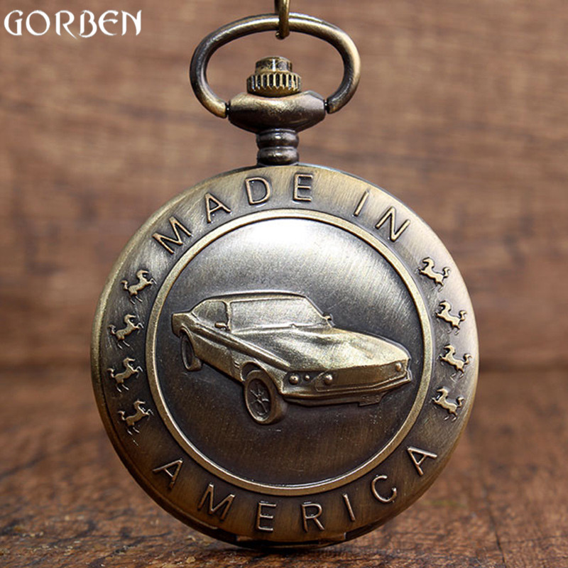 Vintage Bronze Car MADE IN AMERICA Alphabet Horse Pattern Pocket Watch Cool Men Quartz Pocket Watch Fob Necklace Chain Boys Gift