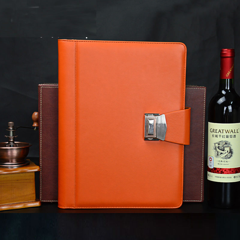 A4 Password Lock Spiral Leather Business Manager Portfolio