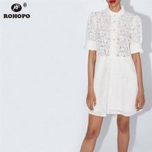купить ROHOPO Women Lace White Elegant Chic Dress Top Diamond Buttons Trim Button Cuff Ruffled Round Collar Party Girl Vestido #CW9285 по цене 959.79 рублей