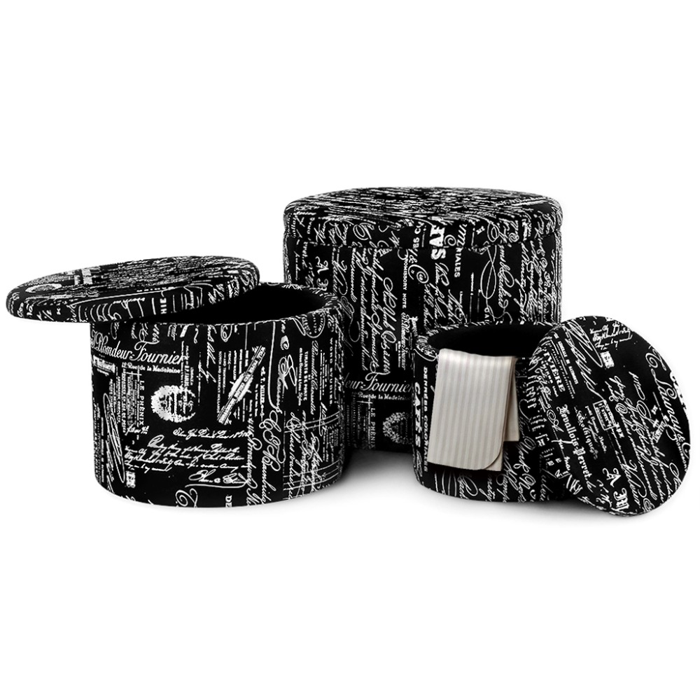 LANGRIA 3 Piece Black Nesting Round French Script Patterned Fabric Storage  Ottoman Set Saving Space Living Room Furniture In Stools U0026 Ottomans From ...