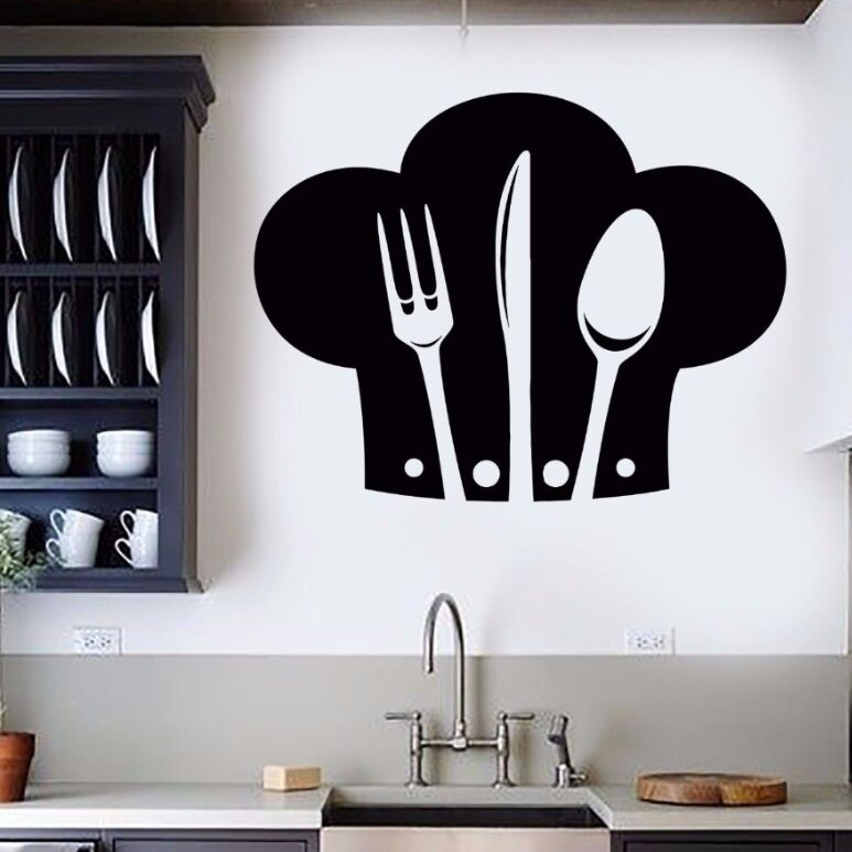 1*Wall Sticker Cute Chef Vegetables Kitchen Restaurant Removable Walls Decals