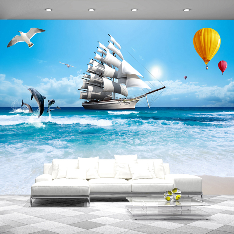 Custom Photo Wallpaper Large Wall Painting 3D Stereoscopic Smooth Sailing Sea View Living Room TV Background Decoration Murale custom photo wallpaper flower 3d stereoscopic rose tv background wall decoration home wall mural living room painting wallpaper