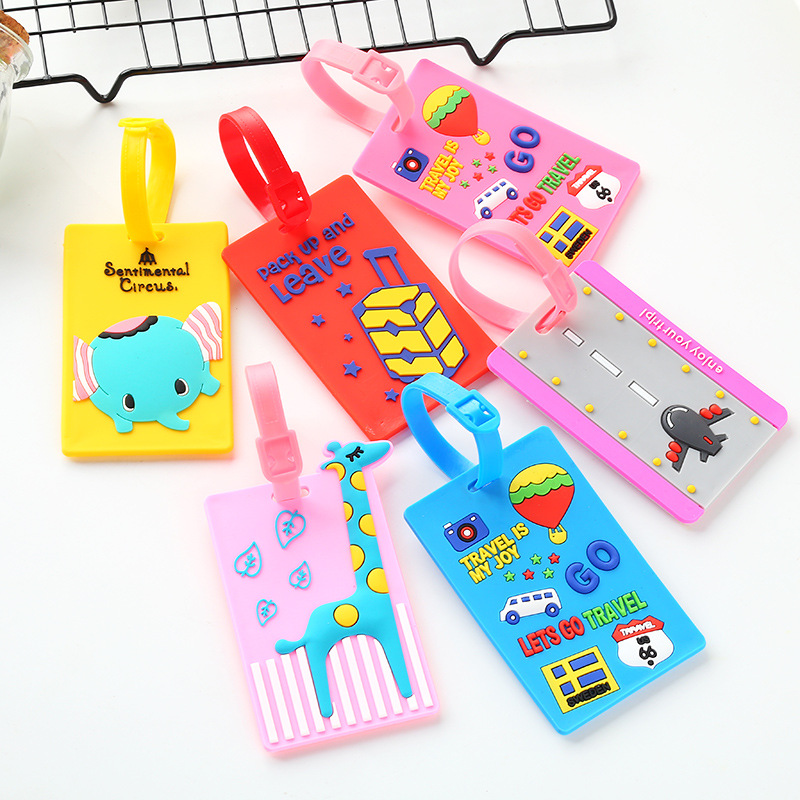 Creative Cartoon Bus Silicone Gel Travel Luggage Tags Baggage Suitcase Bag Labels Name Address Card Set Travel Gift For Student