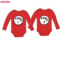 Culbutomind Red Cotton Long Sleeve Thing 1 Thing 2 Twins Baby Bodysuits Sets Of 2 Baby