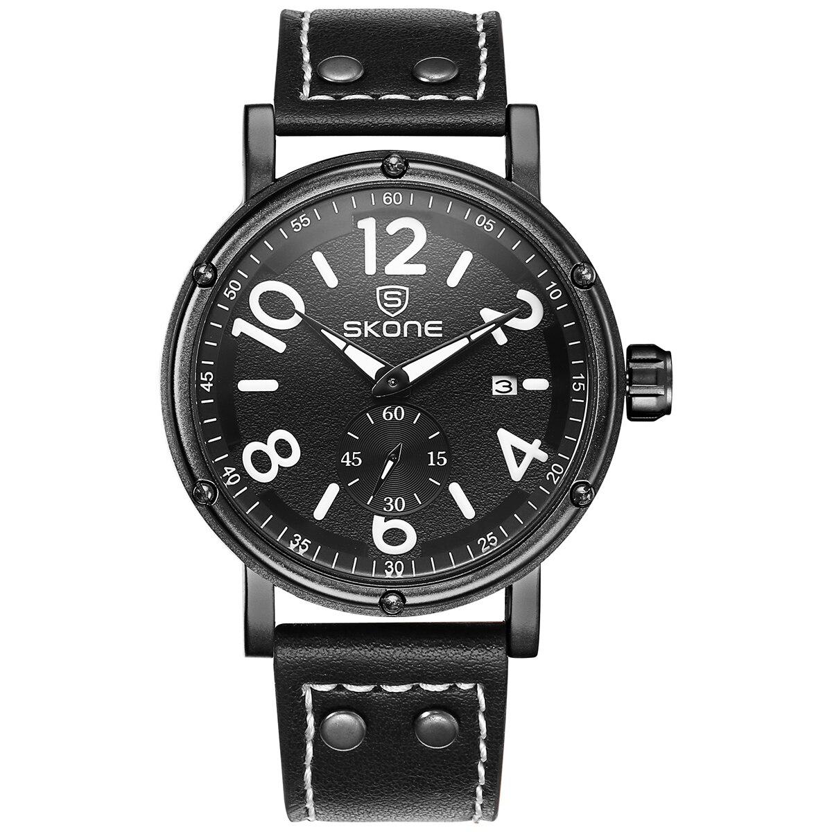 цена SKONE Classic Leather Men Wristwatch Independent Small Seconds Dial Calendar Display Quartz Movement Buckle Fashion Men Watch онлайн в 2017 году