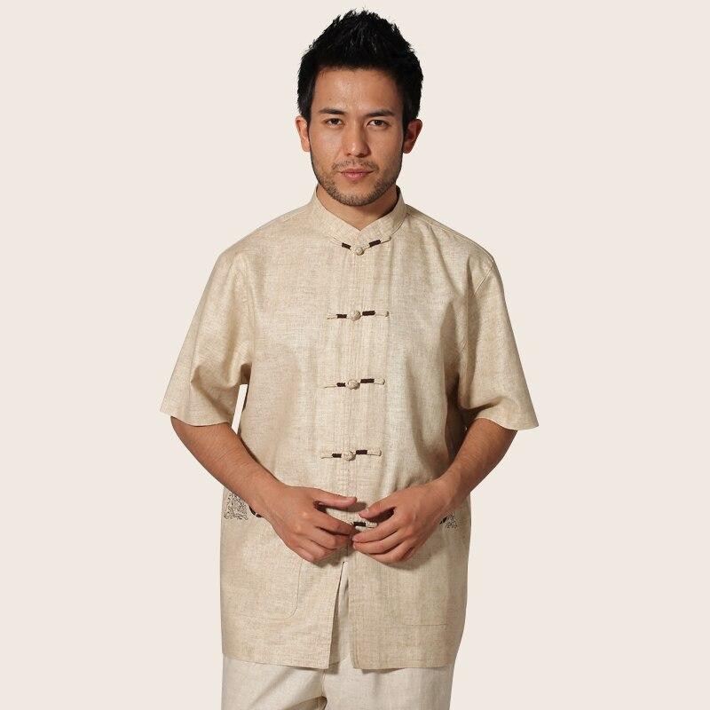Vintage beige estilo chino hombres Camisa de algodón de lino Kung Fu camisa  Tops corto manga ropa tamaño m L XL XXL XXXL ms028 1e5120e70fd8