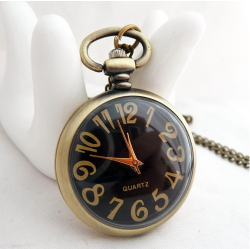 New Arrive Small Size Mini Black Tone Men Women Pocket Watch with chain For Xmas