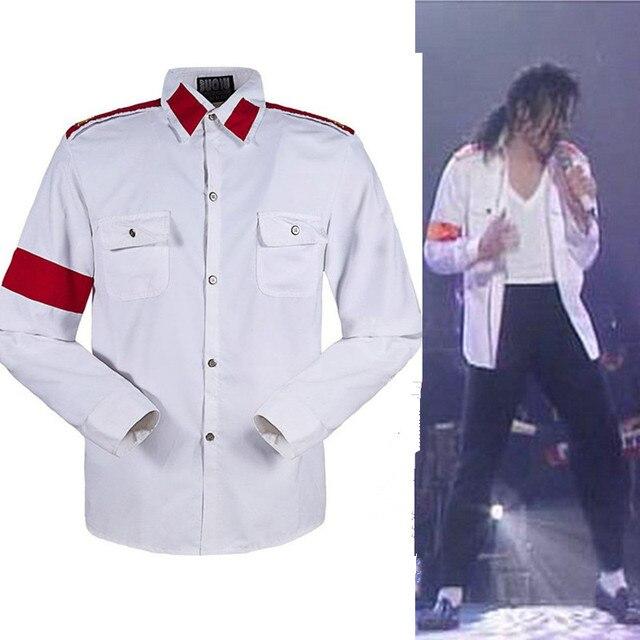 fc66d1a81 Memória de Michael Jackson MJ Homem No Espelho CTE Antiguerra Bordado  Stitchwork Branco Casual Camisa Sark