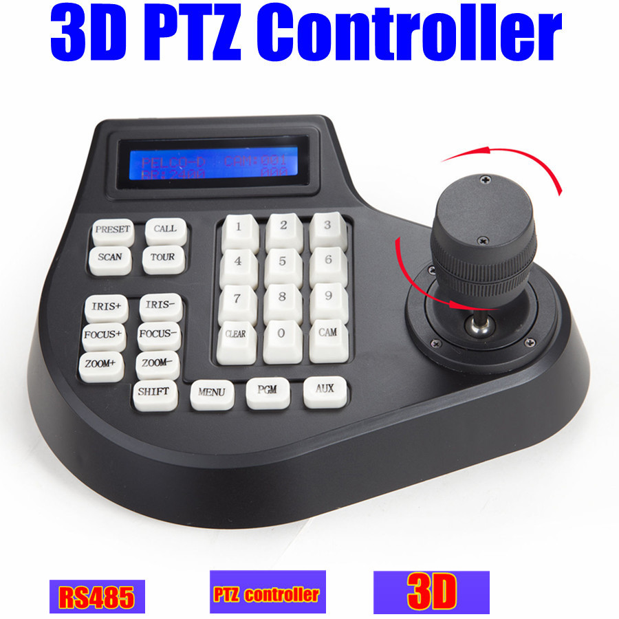 CCTVスピードドームカメラLCD 1.5km 3DジョスティックPTZコントローラーキーボードPTZカメラドア用Pelco RS485モニター付きワイヤレス