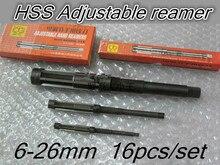 6 26mm 16 pz/set 9 pz/set HSS alesatori A Mano Regolabile alesatori più di 2 kg di peso DHL federale trasporto Libero di SME
