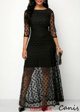 USA Women Polka Dot Mesh Black Long Maxi Dress Formal Wedding  Evening Party Dresses