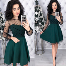 Women Vintage Lace Patchwork A-line Party Dress Long Sleeve O neck