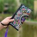 Wristlet Saco de Embreagem Dia Bolsa Das Mulheres Bolsa Elegante Handmade Retro Nacional Saco Bordado com Design Floral