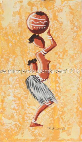 African Painting Woman From The Yellow Lakeside Fine Art Handmade ...
