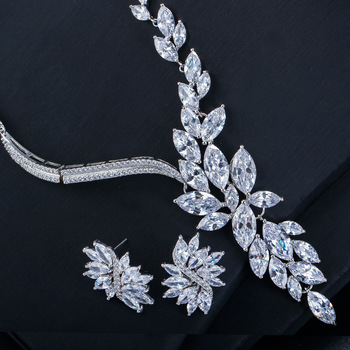 fashion cyrstal cubic zircon necklace and earring bridal jewelry sets
