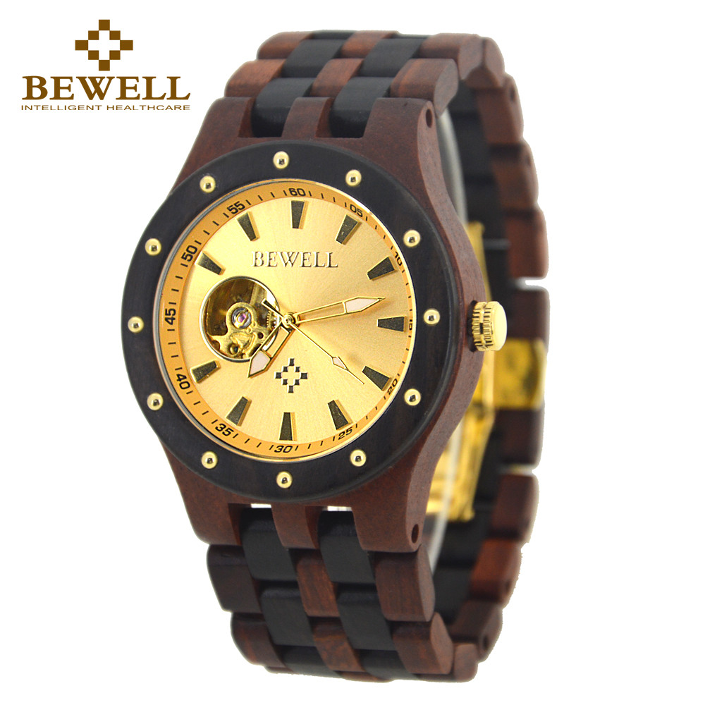 BEWELL Clock Mechanical-Watches Luxury Brand Relogio Masculino Wooden Top 131A Men's