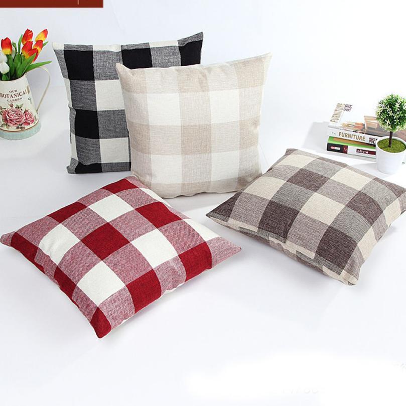 Pillow Case 45*45 Lattice Bed Home Linen Pillow Cover Plaid Striped Geometric Dekoratif Yastklar Pillowcase Throw Pillows #815