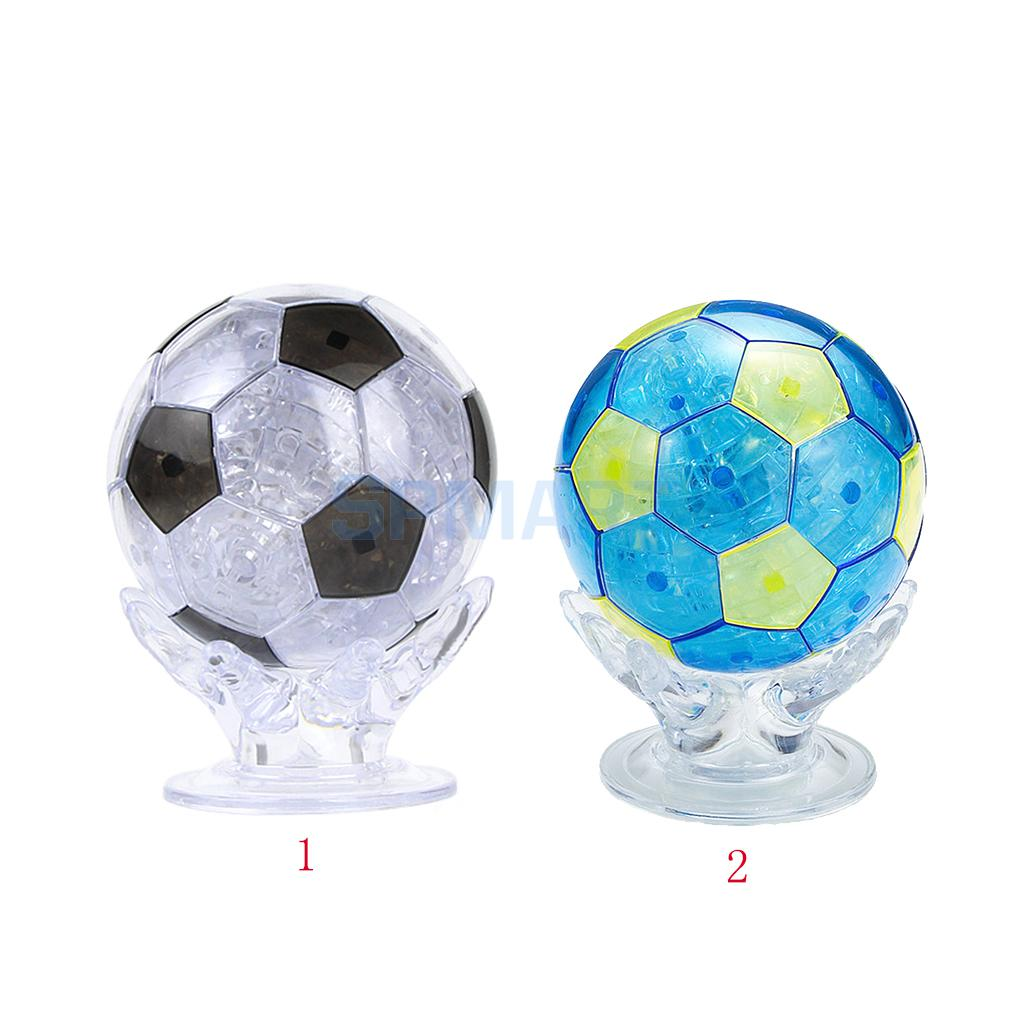 3D Crystal Puzzle Jigsaw DIY Hands Hold Football Model Toy Brain Teaser Decoration