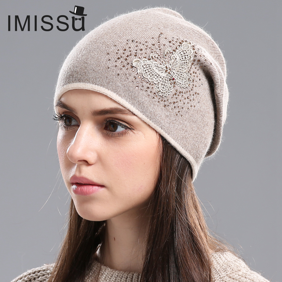 IMISSU Women's Winter Hats Knitted Real Wool Skullies Casual Cap Beanie with Butterfly Pattern Solid Gorros Bonnet Femme 2017 winter women beanie skullies men hiphop hats knitted hat baggy crochet cap bonnets femme en laine homme gorros de lana