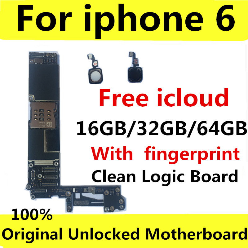 100% Original Unlocked For Iphone 6 Motherboard With Touch ID/without Touch ID,for Iphone 6 Logic Boards,16gb / 32gb / 64gb