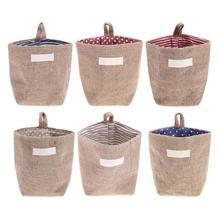 Retro caja de almacenamiento de la cesta yute con forro de algodón cesta  Mini escritorio bolsa 688b500ca1b6