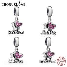 Choruslove I Love my Boyfriend Husband Charm Jesus Music Bead 925 Sterling Silver Beads Fit Pandora Charms DIY Bracelets Jewelry