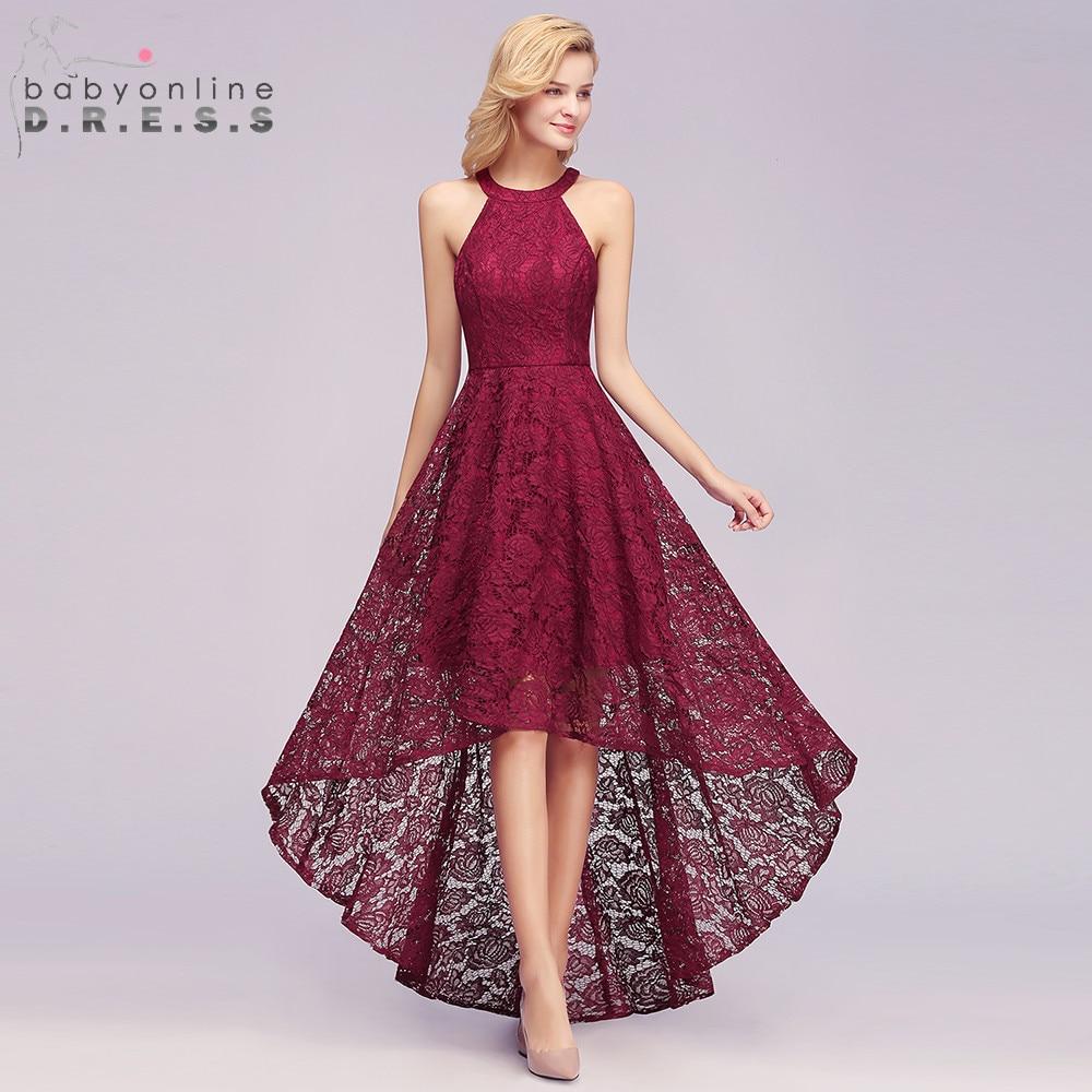 Новое поступление бордовый плюс размеры Высокая Низкая кружево вечернее платье 2019 благородный Холтер рукавов длинное вечернее платье vestido ...
