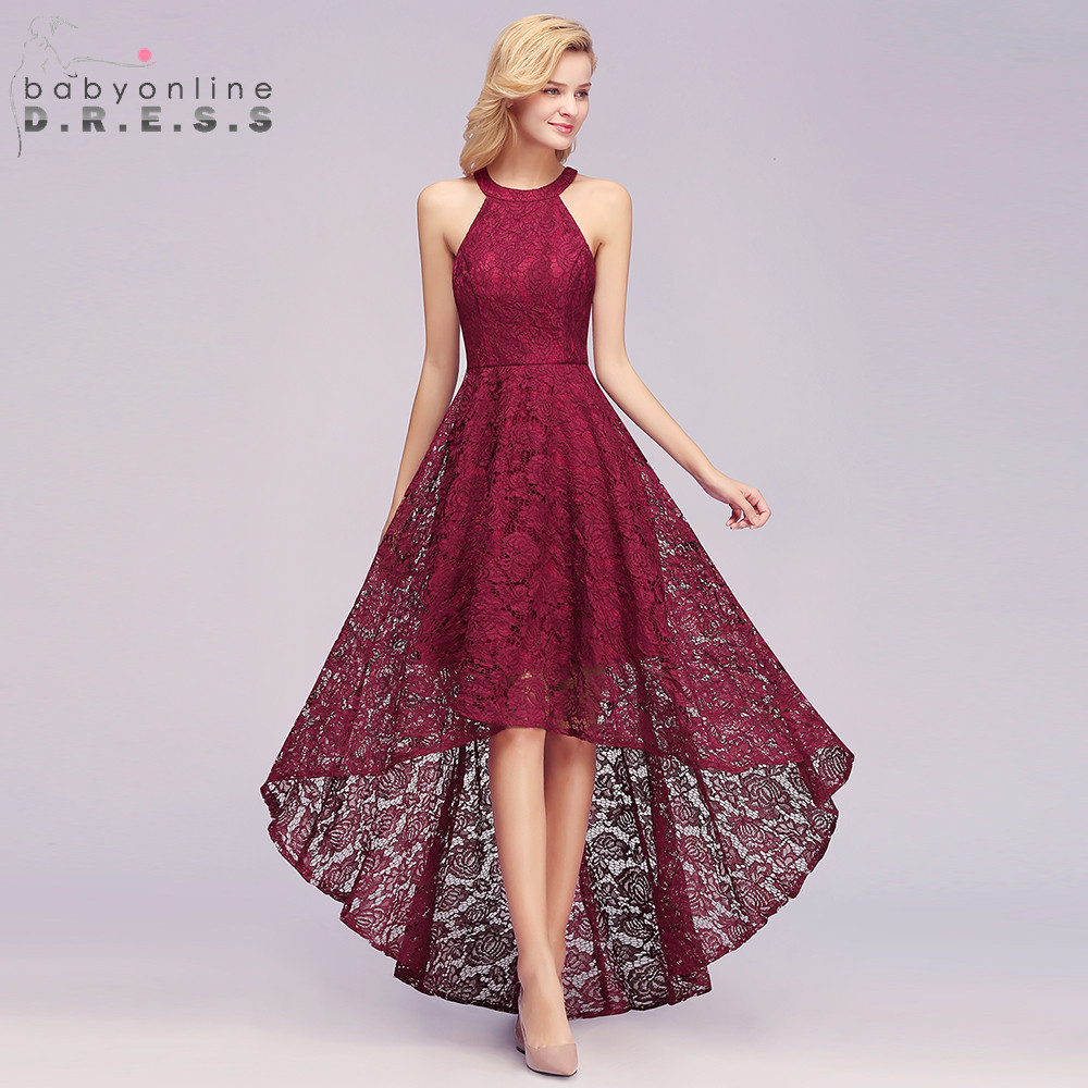 New Arrival Burgundy Plus Size High Low Lace Evening Dress 2019 Noble Halter Sleeveless Long Evening Gown Vestido De Festa Longo