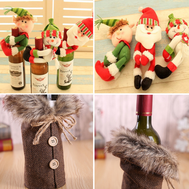 Wine Cover Christmas Decoration For home 2018 Bottle Bag New Year Gift Decor Santa Claus Snowman Party Ornament Xmas Packaging
