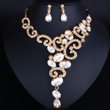 Silver Plated Exquisite Crystal Rhinestones Necklace and Earrings Set Bridal Wedding Jewelry sets