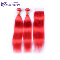 Beaudiva 2 Bundles With Closure Remy Human Hair Weave Bundles With Closure Red Color Malaysian Straight Hair Bundles Hair