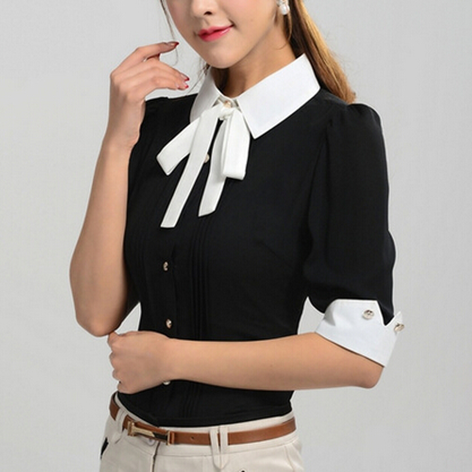 Black Shirt White Collar Womens Artee Shirt