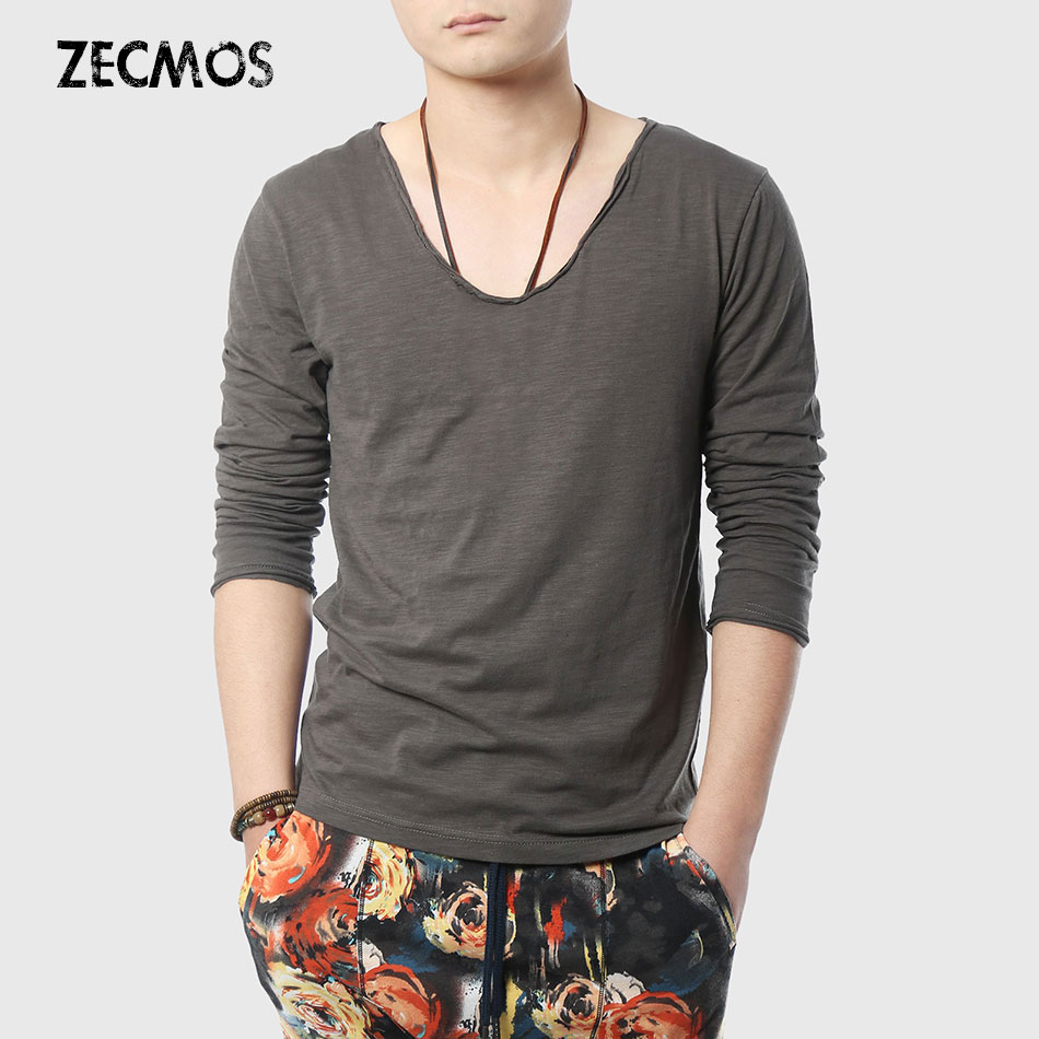 Zecmos Men T-Shirts Long Sleeve Male V Neck T Shirt For Men Vneck Tee Male Tshirts Slim Fit Top Tees Swag Wide Low Neck